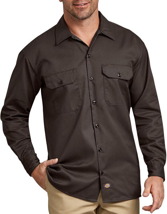 Chemise a manches longues chemise de travail devant solides - Dark Brown (DB)