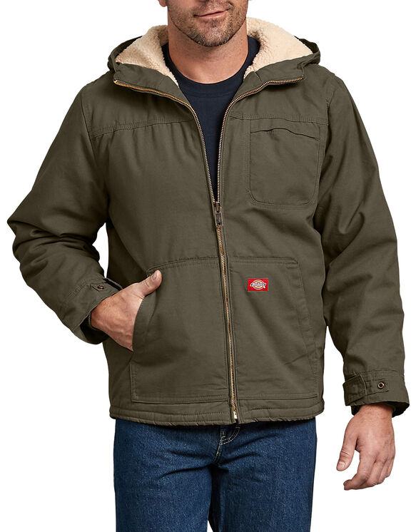 Duck Sherpa Lined Hooded Jacket - Rinsed Military Green (RML)
