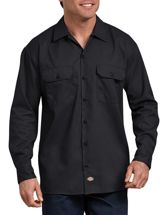 FLEX Relaxed Fit Long Sleeve Twill Work Shirt - Black (BK)