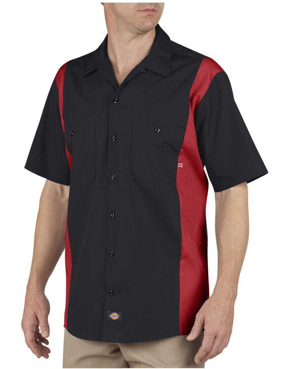 Industrial Color Block Short Sleeve Shirt - Black Red Tone (BKER)