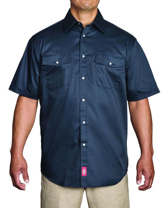 Short Sleeve Snap Front Work Shirt - Dark Navy (DN)