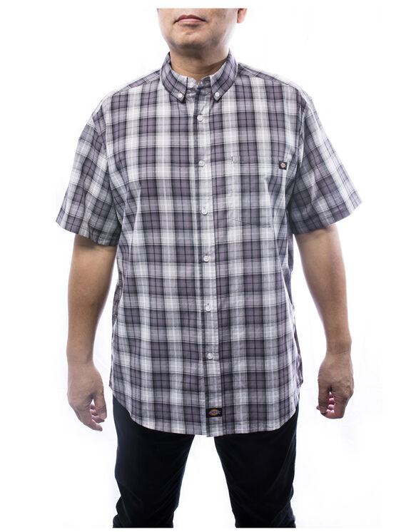 Men's short sleeves plaid shirt - Charcoal Gray (CH)