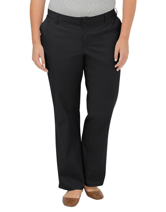 Women's Premium Relaxed Straight Flat Front Pants (Plus) - Black (BK)