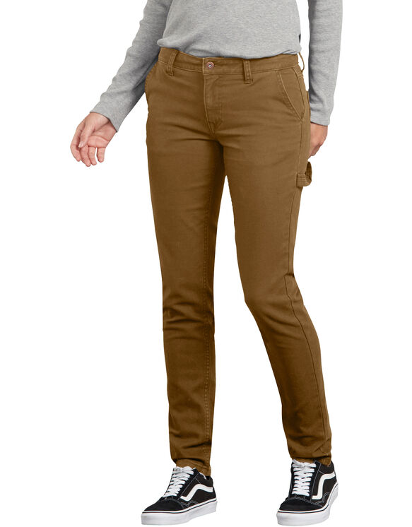 Women's Stretch Washed Carpenter Pants - Brun rincé (RBD)