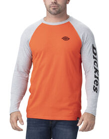 Long Sleeve Graphic Baseball T-Shirt - Orange Brick Heather Gray (EKHG)