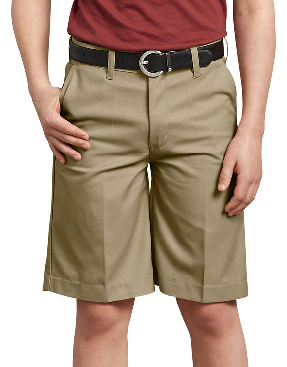 Boys' FlexWaist® Flat Front Shorts, 8-20 - Military Khaki (KH)