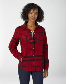 Women's Quilted Shirt Jacket - English Red/Black Plaid (RAP)