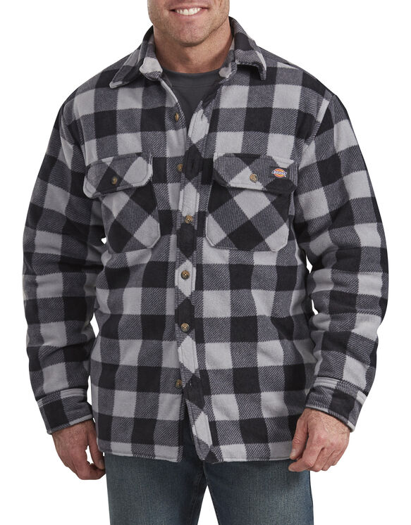 Relaxed Fit Icon Micro Fleece Quilted Shirt Jacket - Black Gray Plaid (SBP)