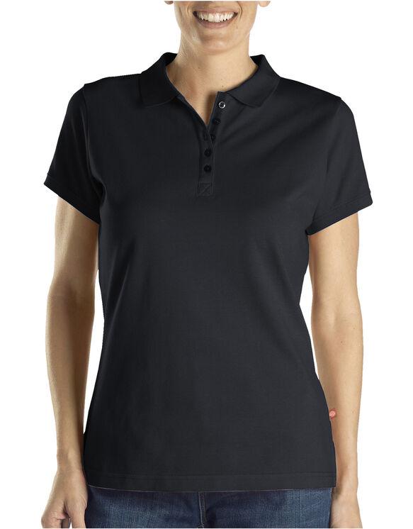 Polo en tissu piqué uni pour femmes - Noir (BK)