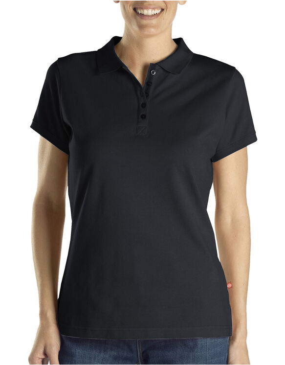 Women's Solid Piqué Polo - Black (BK)