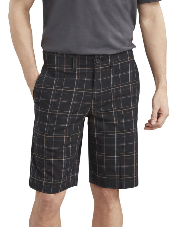 Short X-Series Dickies de 11 po à ceinture adaptable, adouci par traitement et tissé-teint - Rinsed Black Plaid (RBKP)