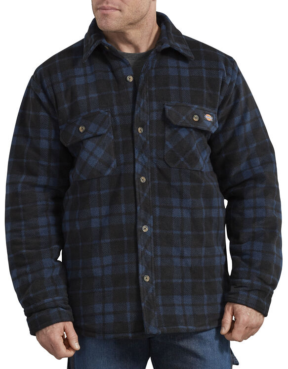 Relaxed Fit Icon Micro Fleece Quilted Shirt Jacket - Blue Black Plaid (MEP)