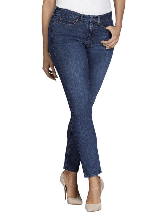 Women's Perfect Shape Curvy Fit Skinny Leg Stretch Denim Jeans - Stonewashed Indigo Blue (SNB)