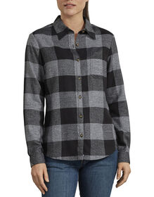Women's Long Sleeve Plaid Shirt - Black White Heather Buffalo (BWB)