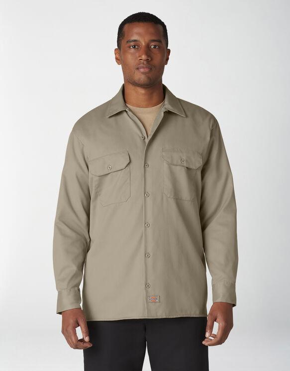 Chemise a manches longues chemise de travail devant solides - Desert Khaki (DS)