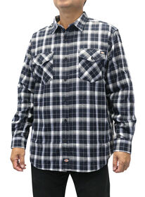 Men's Flannel Long Sleeve Woven Shirt with Dickies Applique - BLACK/WHITE (BKWH)