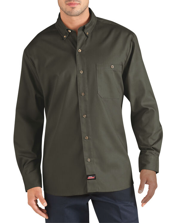 Genuine Dickies Long Sleeve Performance Canvas Work Shirt - Moss Green (MS)
