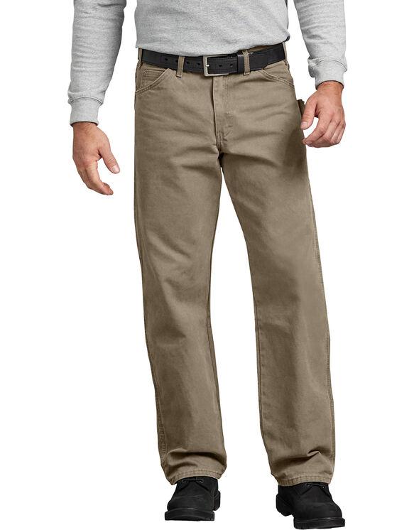 Jeans menuisier à jambe droite et coupe décontractée en coutil brossé - Sable du désert rincé (RDS)