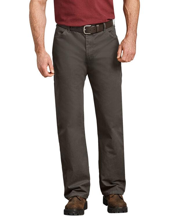 Jeans menuisier décontracté à jambe droite en coutil - Olive noire rincée (RBV)