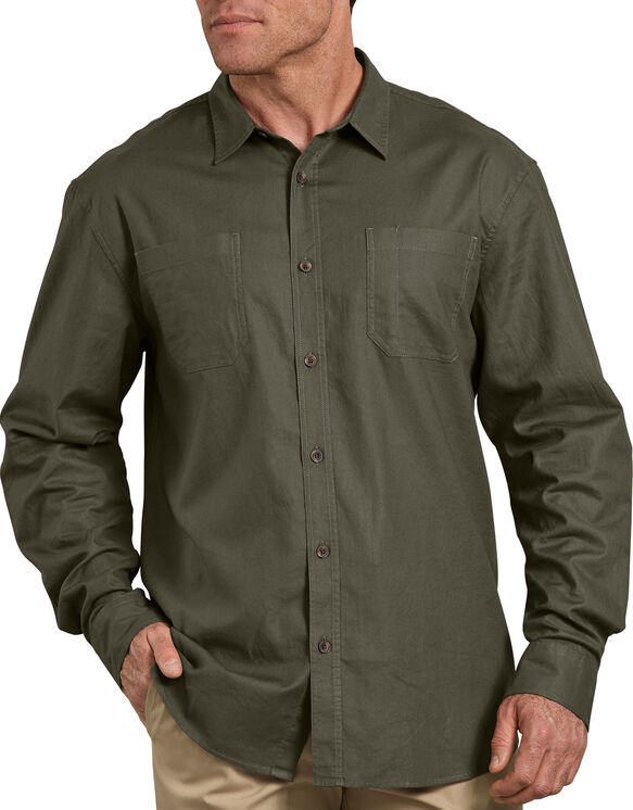 Relaxed Fit Icon Long Sleeve Solid Shirt - Stonewashed Moss Green (SMS)
