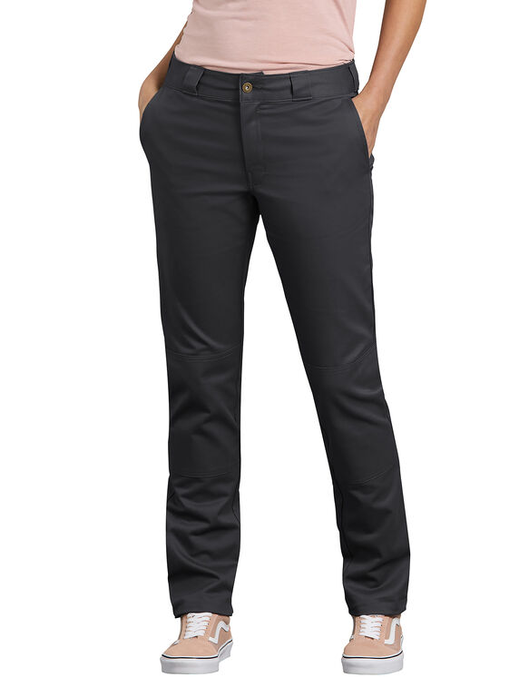 Women's Slim Fit Double Knee Pants - Black (BK)