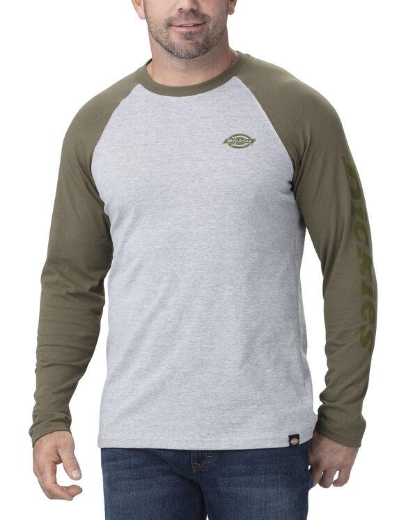Long Sleeve Graphic Baseball T-Shirt - Military Green Heather Gray (HGML)