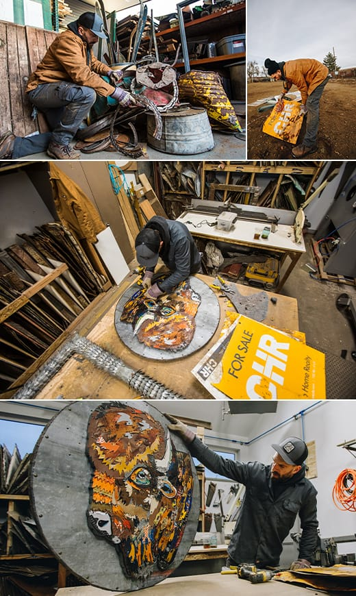 Dolan gathers vibrant signs and materials to incorporate into his artwork.