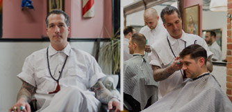 Images of Jon Roth at his Crows Nest Barbershop.
