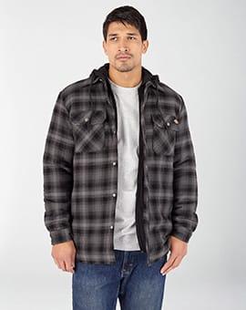 Fleece Hooded Flannel Shirt Jacket with Hydroshield