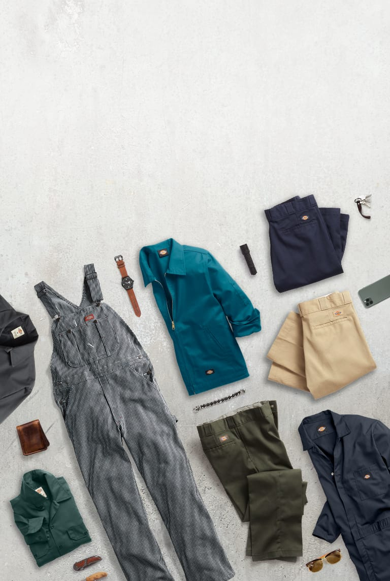 textured background with various dickies products lying on the background surface