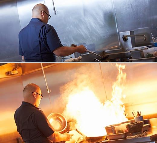 Parnass concocte un plat en cuisine.