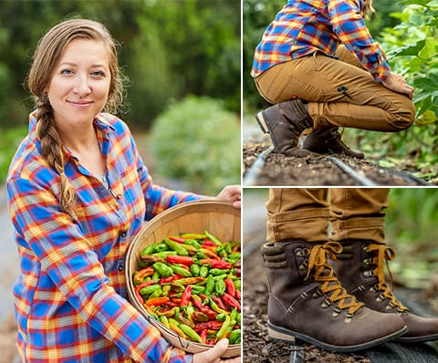 ABOVE: Monica proves that bending, kneeling and hauling produce is comfortable in her double-front duck pants and button-down work shirt.